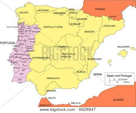 Map Of Spain And Surrounding ...
