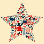 stock photo of trumpets  - 4th of July icons symbols collage T - JPG
