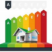 picture of efficiencies  - Simple infographic vector illustration of house energy efficiency classification certificate - JPG