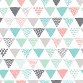 stock photo of tripe  - Seamless geometric tribal triangle hand drawn background pattern in vector - JPG