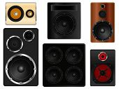 picture of subwoofer  - Different types of audio speaker cabinets vector illustration - JPG