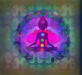 picture of padmasana  - Yoga woman silhouette in lotus pose - JPG