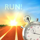 pic of chronometer  - Realistic metallic stopwatch and running track sport poster illustration - JPG