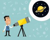 foto of observed  - Cartoon male astronomer observes jupiter in telescope print with space elements on background vector illustration - JPG