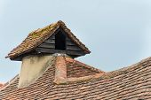 stock photo of pigeon loft  - Rustic pigeon loft on roof of traditional English village house - JPG