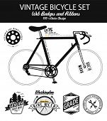 stock photo of recreational vehicles  - illustration bicycle with vintage bike badge - JPG