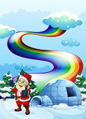 foto of igloo  - Illustration of a smiling Santa near the igloo with a rainbow in the sky - JPG