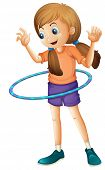 stock photo of hulahoop  - Illustration of a pretty teenager playing with the hulahoop on a white background - JPG