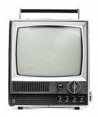 stock photo of televisor  - Vintage portable TV set on white background - JPG