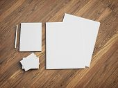 picture of letterhead  - Blank stationery set on wood background - JPG