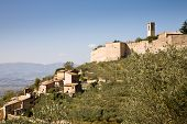 image of hamlet  - A view on the village of Campello Alto a hamlet of Campello sul Clitunno in Umbria Italy - JPG