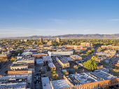 foto of collins  - aerial view of Fort Collins downtown in sunrise light - JPG