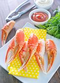 stock photo of cooked blue crab  - boiled crab claws on the white plate - JPG