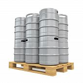 picture of keg  - Pallet of Beer Kegs isolated on white background - JPG