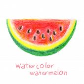picture of watermelon slices  - Slice of watermelon in watercolor - JPG