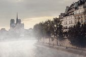 foto of notre dame  - Notre Dame Cathedral in the fog - JPG