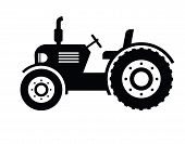 stock photo of tractor  - vector black Tractor icon on white background - JPG