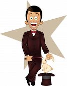 foto of magic-wand  - Cartoon vector illustration of magician character holding magic wand with rabbit out of a hat - JPG