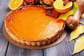 image of pumpkin pie  - Homemade pumpkin pie on napkin - JPG