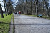 image of stroll  - People going out for a stroll in Nymphenburg castle Germany - JPG