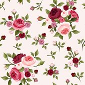 pic of english rose  - Vector vintage seamless pattern with red and pink English roses - JPG