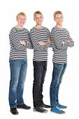 picture of conscript  - Handsome boys in a striped shirts with arms crossed - JPG