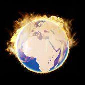 picture of eastern hemisphere  - Burning in flames earth after meteorite collision - JPG