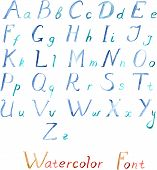 stock photo of alphabet  - Watercolor vector alphabet with blue letters on the white background - JPG