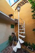 stock photo of spiral staircase  - beautiful spiral staircase with a lantern - JPG