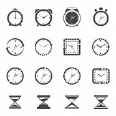 foto of sand timer  - Alarm clock old sand watch stopwatch timer icons black set isolated vector illustration - JPG