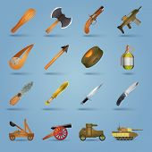 picture of shotgun  - Weapon icons set with gun shotgun grenade tank stun isolated vector illustration - JPG