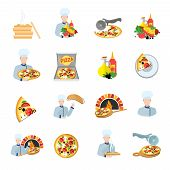 pic of hot fresh pizza  - Fast food pizza maker perfect service fresh ingredients flat icons set isolated vector illustration - JPG