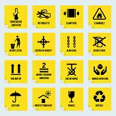 stock photo of temperature  - Handling and packing yellow stickers set with temperature limitation flammable no stack symbols isolated vector illustration - JPG