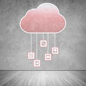 image of wall cloud  - Colorful cloud with business icons on cement wall - JPG