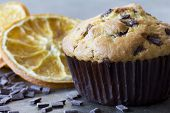 pic of chocolate muffin  - Single Chocolate Chip and Orange Muffin with Dried Orange Slices and Chocolate Chips in the Background - JPG