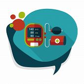 foto of sphygmomanometer  - Sphygmomanometer Blood Pressure Flat Icon With Long Shadow - JPG