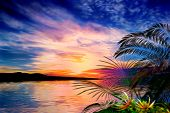 picture of tropical island  - 3D illustration of tropical landscape at sunset - JPG