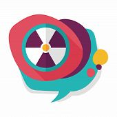 stock photo of nuke  - Radiation Flat Icon With Long Shadow - JPG