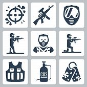 stock photo of paintball  - Paintball related vector icons set over white - JPG