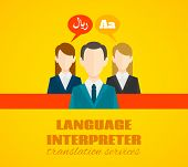 image of interpreter  - Translation services legal telephone high quality interpretation and communication assistance in all languages abstract flat vector illustration - JPG
