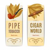 picture of tobacco-pipe  - Tobacco vertical banners set with pipe and cigar elements isolated vector illustration - JPG