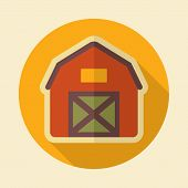 stock photo of barn house  - Barn house retro flat icon with long shadow eps 10 - JPG