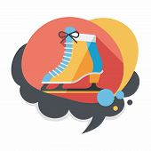 foto of skate  - Ice Skate Flat Icon With Long Shadow - JPG
