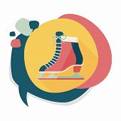 picture of skate  - Ice Skate Flat Icon With Long Shadow - JPG