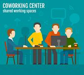 image of coworkers  - Coworking center concept with creative work group people sitting at the table vector illustration - JPG