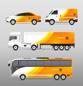 stock photo of trucks  - Transport advertisement design with cars bus and trucks in orange abstract identity isolated vector illustration - JPG