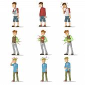 pic of flat stomach  - Medicine disease man flat characters set with influenza sneezing nosebleed illness isolated vector illustration - JPG