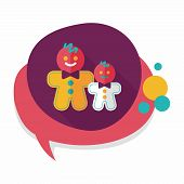 picture of ginger man  - Gingerbread Man Flat Icon With Long Shadow - JPG