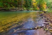 foto of wood pieces  - Beautiful landscape with wild river in autumnal forest - JPG