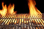 stock photo of barbecue grill  - Flame Fire Empty Barbecue Grill Background Copy Space - JPG